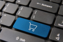 Online Shopping Cart Button On Laptop Keyboard