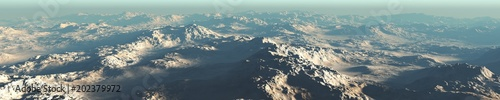 Fotografía  Mars from the height of the flight, a panorama of the surface of Mars,