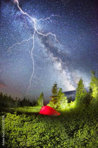 Fotobehang Lavendel storm thunderstorm tourism