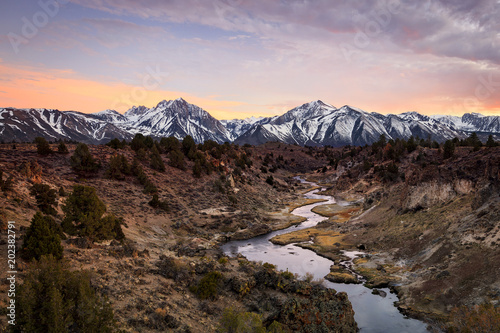 Foto op Canvas Cappuccino Sunset above the Owens River, California, USA.
