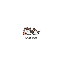 Lazy Cow Sleeping Icon, Vector...