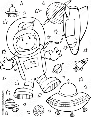 Poster Cartoon draw Cute Astronaut Spaceshuttle Vector Illustration Art