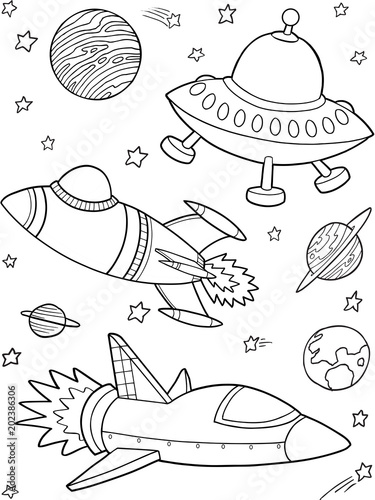 In de dag Cartoon draw Rockets Spaceships Outer Space Vector Illustration Art