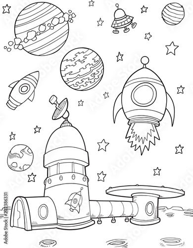 Photo sur Toile Cartoon draw Moonbase Outer Space Rockets Illustration Art