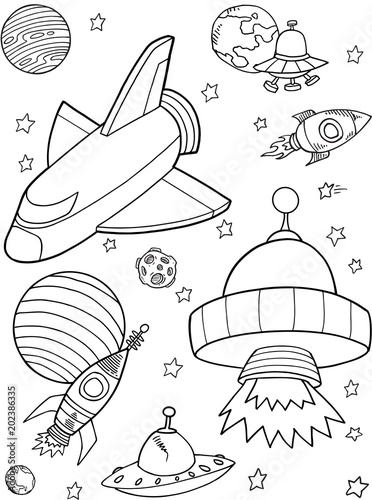 Poster Cartoon draw Cute Rocket shuttle Outer Space Vector Illustration art