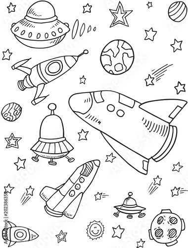Poster Cartoon draw Cute Rockets Outer Space Vector Illustration Art