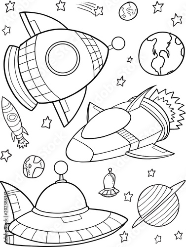 Tuinposter Cartoon draw Cute Rockets Outer Space Vector Illustration Art