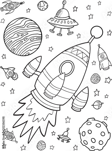 Spoed Fotobehang Cartoon draw Outer Space Rocket Planets Vector Illustration Set