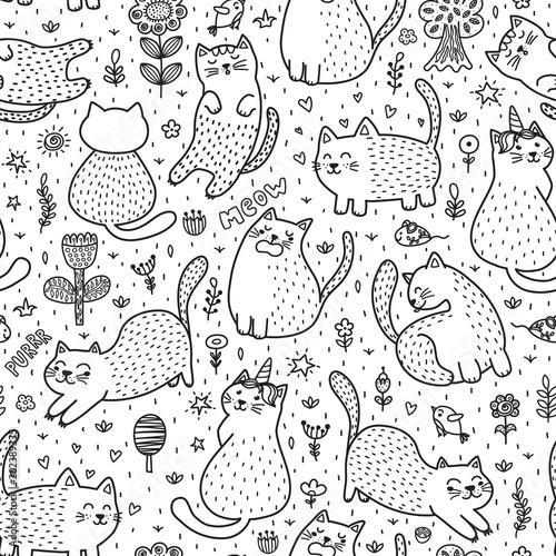 sliczni-koty-w-lato-bezszwowym-wzorze