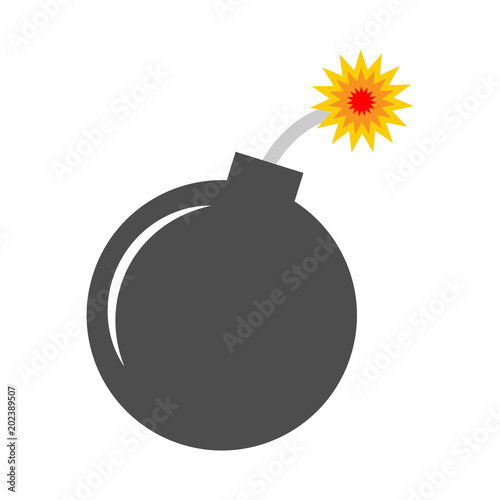Valokuva  Simple, flat, grey bomb icon. Lit fuse. Isolated on white