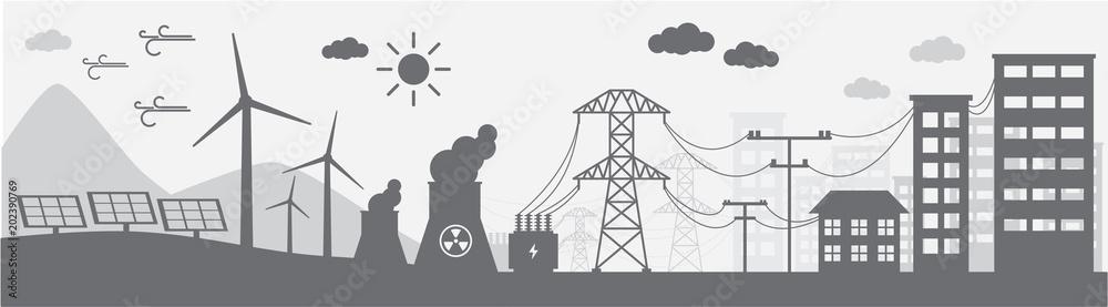 Fototapeta Monochrome illustration of power distribution system.