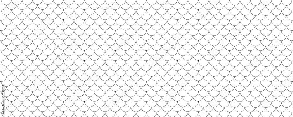 Fototapeta Fish scale pattern background, black and white