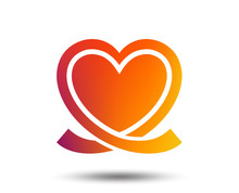 Heart Ribbon Sign Icon. Love Symbol. Blurred Gradient Design Element. Vivid Graphic Flat Icon. Vector