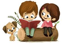 Niños Leyendo Un Libro Sentad...