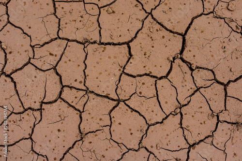Looking down at cracked terrain , pattern of nature Wallpaper Mural