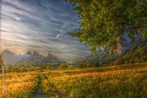 Foto auf Leinwand Rotglühen HDR Spring in Switzerland