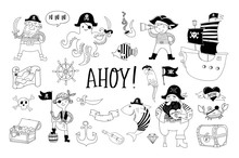 Pirate Collection Of Hand Drawn Characters And Icons