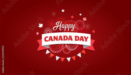 Happy Canada day, background, banner with fireworks and maple leaves