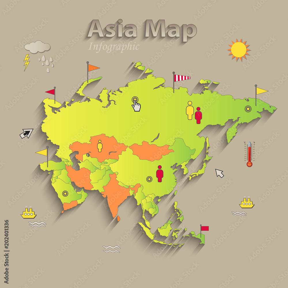Politische Karte Asien.Asien Karte Separate Staaten Infografiken Politische Landkarte