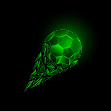 Green Neon Broken Soccer Ball With Fragments Tail. Football Vector Background With Polygonal Ball That Flies With A Trajectory From The Wreckage.