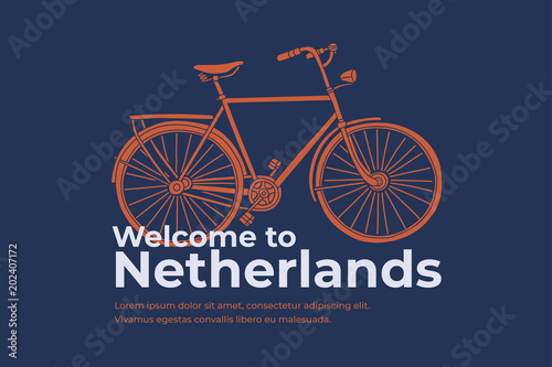 Photo  Hand drawn Bicycle with inscription Welcome to Netherlands