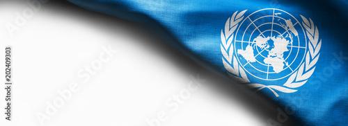 Fotografie, Obraz  Flag of United Nations on white background