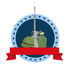 rifle war with helmet and canteen emblem vector illustration design