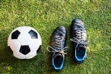 Closeup Of Soccer Ball And Foo...