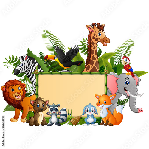 Staande foto Zoo Animals forest cartoon with blank sign bamboo