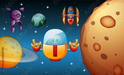 Robots Are Flying In The Space Buy This Stock Vector And Explore