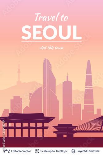 Seoul famous city scape. Poster