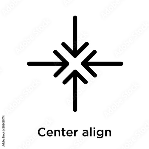 Fotomural  Center align icon isolated on white background
