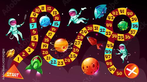 Ilustracja wektorowa gra planszowa. Astronauci w grze planszowej ze strategią kosmiczną dzieciak kreskówka szablon lub gra wyścigowa tabletop z kostką, aby rozpocząć i zakończyć trasę kosmonautów w kosmicznych planetach