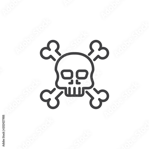 Photo  Crossbones death skull outline icon