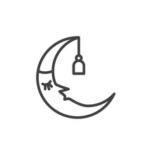 Sleeping Moon In Nightcap Outline Icon. Linear Style Sign For Mobile Concept And Web Design. Crescent In Hat Simple Line Vector Icon. Symbol, Logo Illustration. Pixel Perfect Vector Graphics