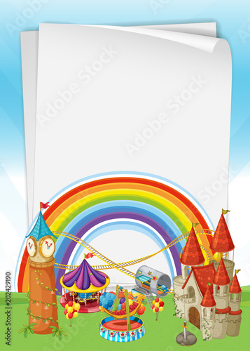 Poster Kasteel Beautiful Castle with Rainbow Template