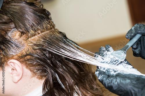 Fotografie, Obraz  Hands of a master hairdresser color hair women chemical paint