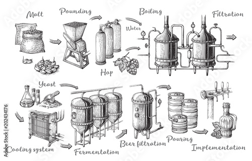 Fotomural Vector beer infographics with illustrations of brewery process