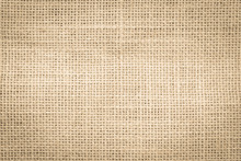 Jute Hessian Sackcloth Woven Burlap Texture Pattern Background In Old Aged Yellow Beige Cream Gold Brown Color