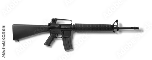 Assault rifle on white background Canvas Print