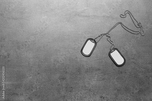 Military ID tags on grey background Canvas Print