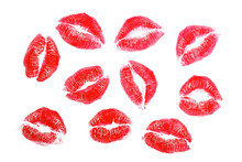 Lipstick Kisses, Isolated On W...