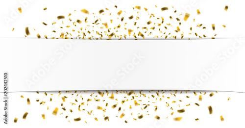 Fotografía  White Paper Banner Golden Confetti
