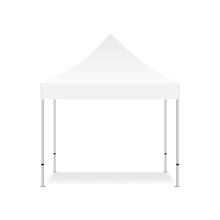 Blank Outdoor Tent Mock Up Isolated On White Background. Vector Illustration