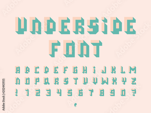 Fotografie, Tablou  Underside font. Vector alphabet