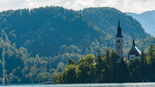 Tuinposter Groen blauw Magic and colors of Lake Bled. Slovenia