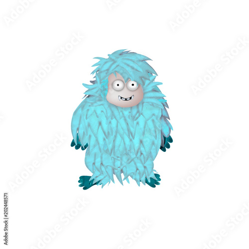 Photo  3D rendered yeti monster cartoon character isolated on white