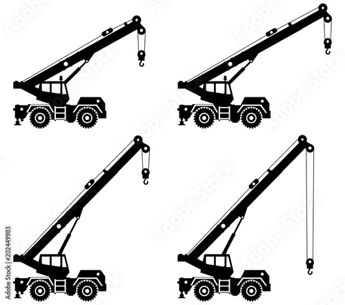 Silhouette Of Building Crane Truck With Different Boom Position