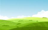 Ilustracja wektorowa pięknego krajobrazu pól o świcie, zielone wzgórza, jasny kolor błękitnego nieba, tło w stylu płaskiej kreskówki.