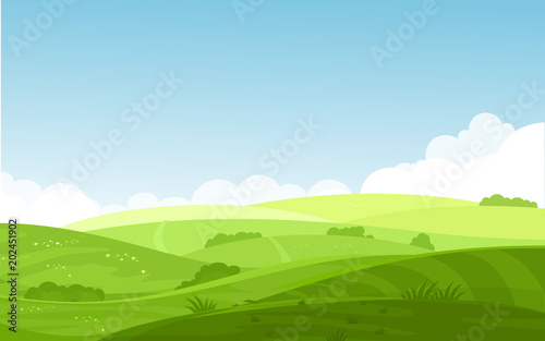 Vector illustration of beautiful fields landscape with a dawn, green hills, bright color blue sky, background in flat cartoon style.